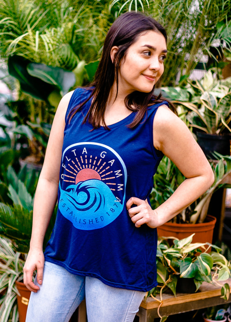 High Tide Sleeveless Tee - Hannah's Closet - The Official Boutique for Delta Gamma