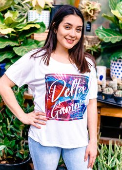Colorful Palm Tee - Hannah's Closet - The Official Boutique for Delta Gamma