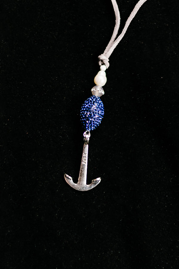 Silvertone Anchor Necklace - Hannah's Closet - The Official Boutique for Delta Gamma