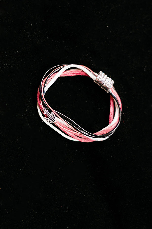Black and Pink Silvertone Anchor Bracelet - Hannah's Closet - The Official Boutique for Delta Gamma
