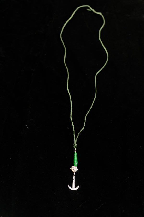 Green Teardrop Agate Anchor Necklace - Hannah's Closet - The Official Boutique for Delta Gamma