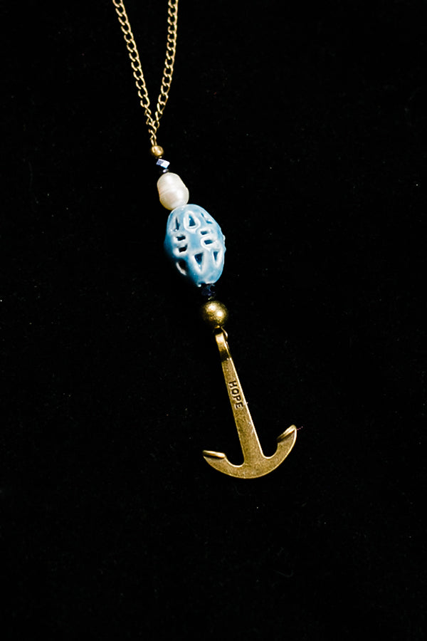 Caramel and White Pearls Brass anchor Necklace - Hannah's Closet - The Official Boutique for Delta Gamma
