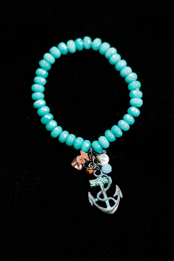 Teal Agate Anchor Bracelet - Hannah's Closet - The Official Boutique for Delta Gamma