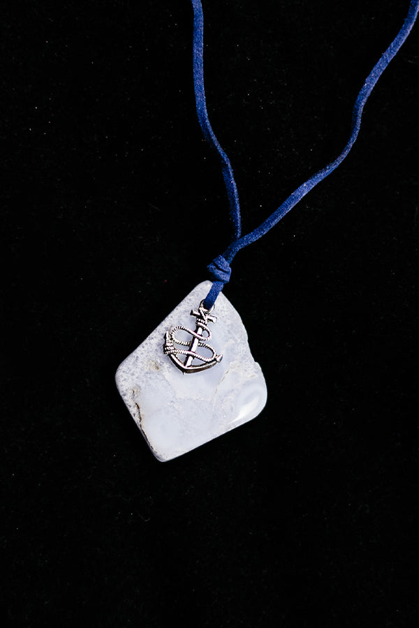 Blue Chalcedony Silvertone Anchor Necklace