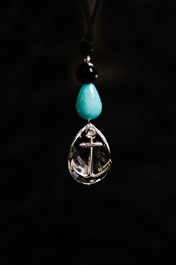 Black Onyx Pewter anchor Necklace