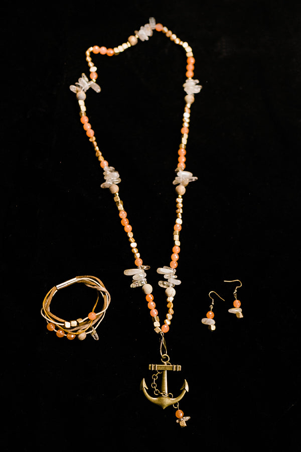 Peachy Agate Jewelry Set - Hannah's Closet - The Official Boutique for Delta Gamma