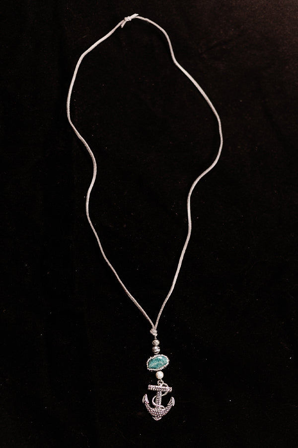 Teal Jasper and Pearl Anchor Necklace - Hannah's Closet - The Official Boutique for Delta Gamma