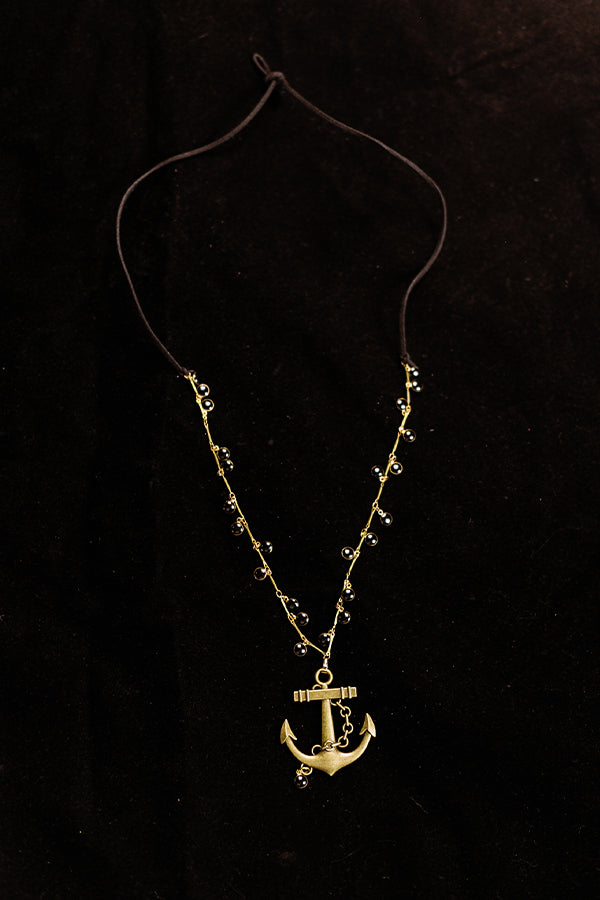 Black Laquer and Brass Anchor Necklace - Hannah's Closet - The Official Boutique for Delta Gamma