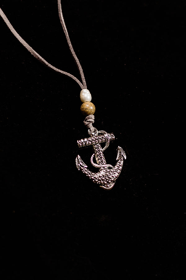 Pearl and Picture Jasper Anchor Necklace - Hannah's Closet - The Official Boutique for Delta Gamma