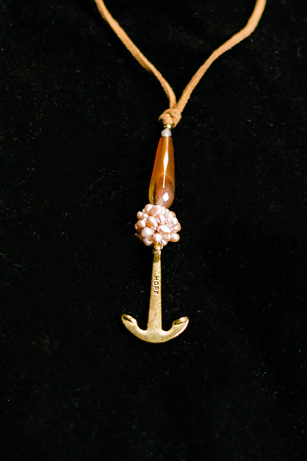 Watermelon Agate Anchor Necklace - Hannah's Closet - The Official Boutique for Delta Gamma