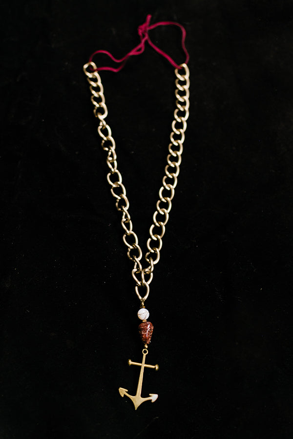 Brass Anchor Chain Necklace - Hannah's Closet - The Official Boutique for Delta Gamma