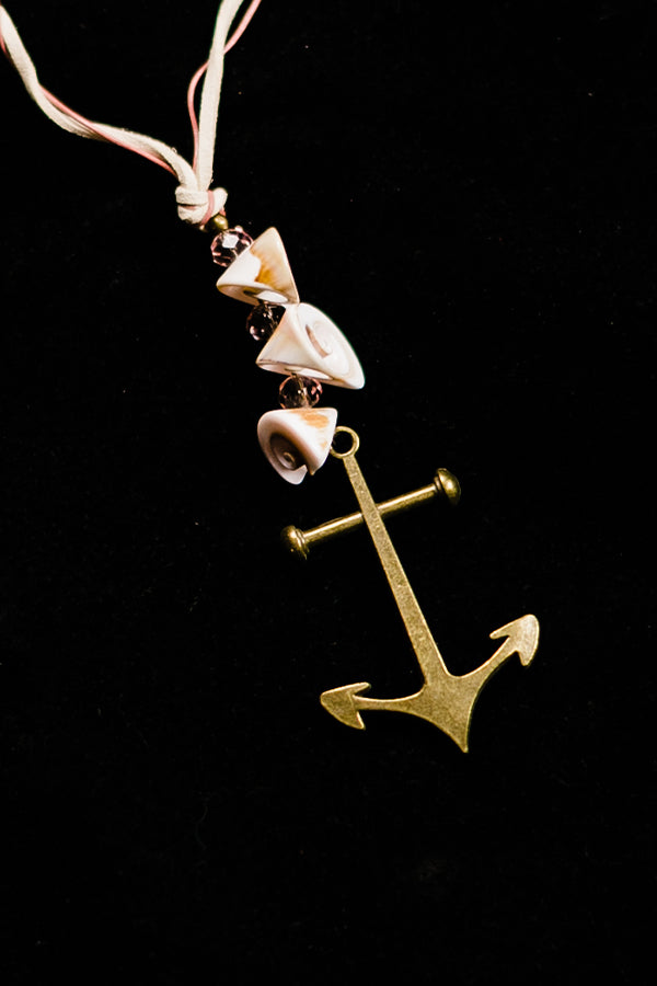 Brass Anchor Shell Necklace