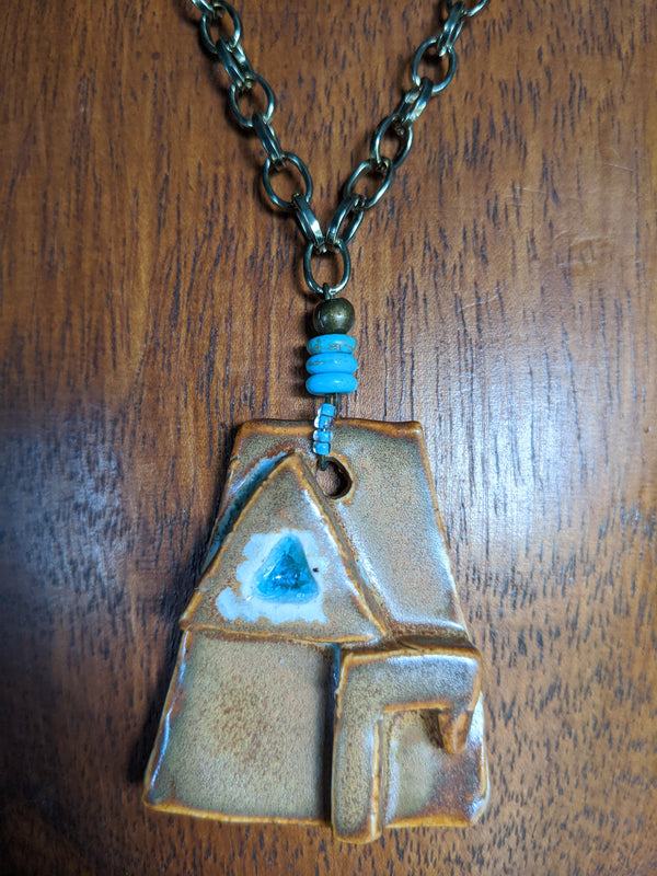 Handmade ceramic slab with Greek Delta Gamma letters with turquoise glass, turquoise, brass chain - Hannah's Closet - The Official Boutique for Delta