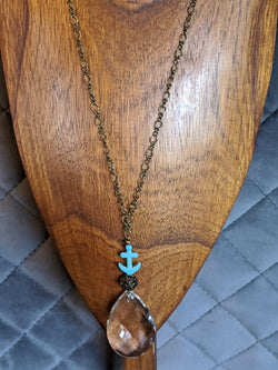 Large Clear Crystal, Turquoise Anchor, Brass Chain - Hannah's Closet - The Official Boutique for Delta Gamma