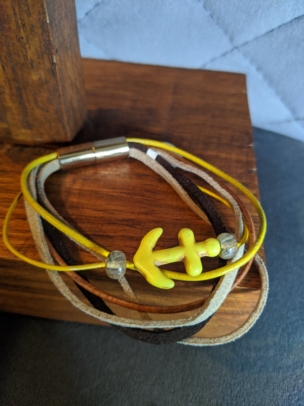 Yellow Turquoise, Straw Quartz, Leather and Suede, Magnetic Clasp - Hannah's Closet - The Official Boutique for Delta Gamma