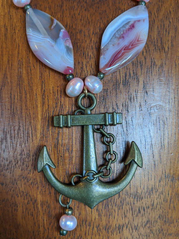 Brass Anchor, Pink Pearls, Pink Striated Agate, Suede - Hannah's Closet - The Official Boutique for Delta Gamma
