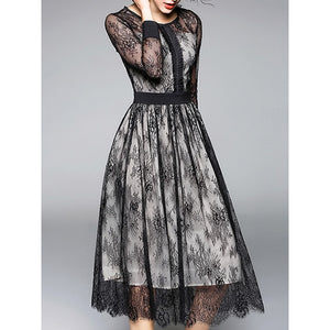 Eyelash Lace Trim Lace Dress