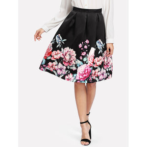 Boxed Pleated Flower Print Skirt
