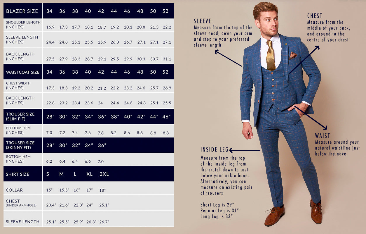 marc darcy suit size guide
