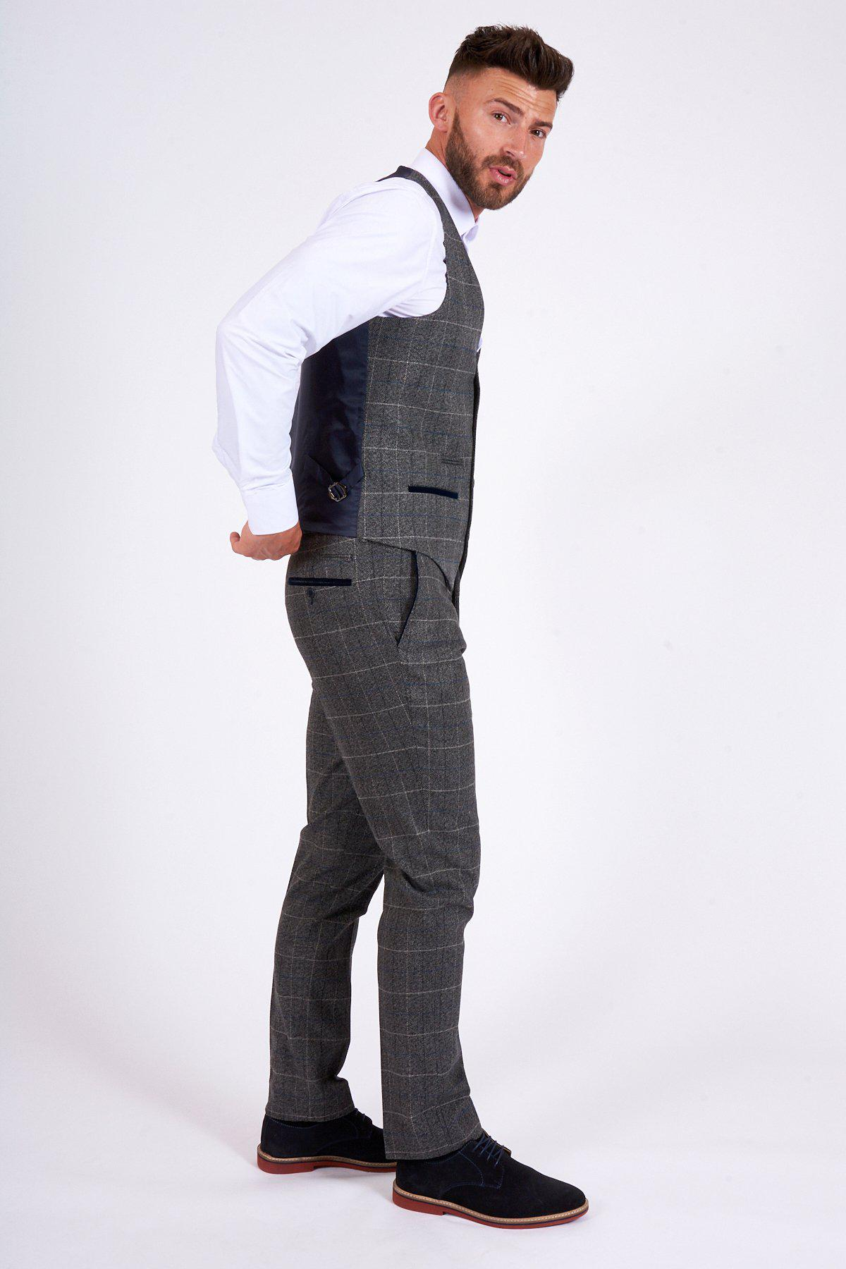 SCOTT - Grey Check Tweed Trousers-TROUSERS-marcdarcy-Marc Darcy (877106364463)