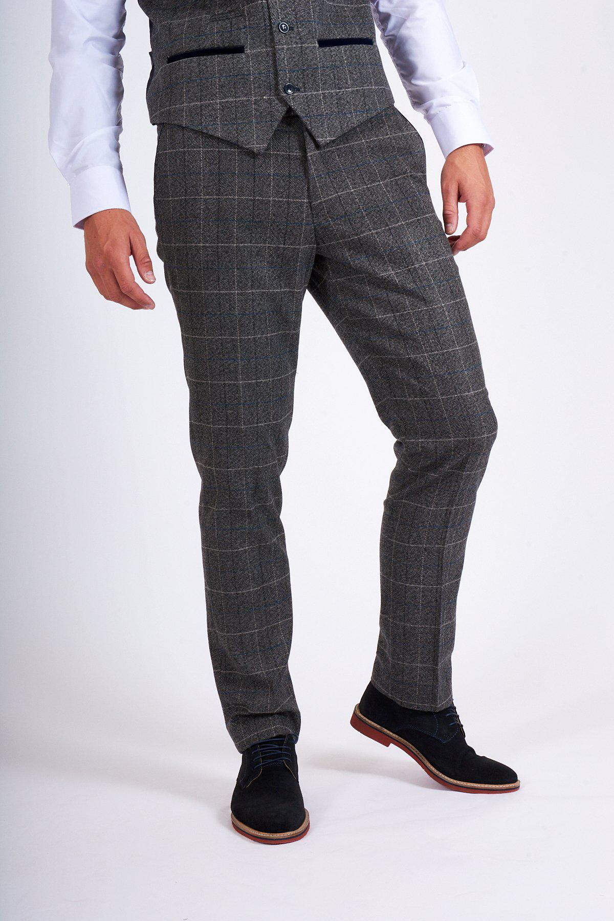 SCOTT - Grey Check Tweed Trousers - Marc Darcy dbd911e9f99d