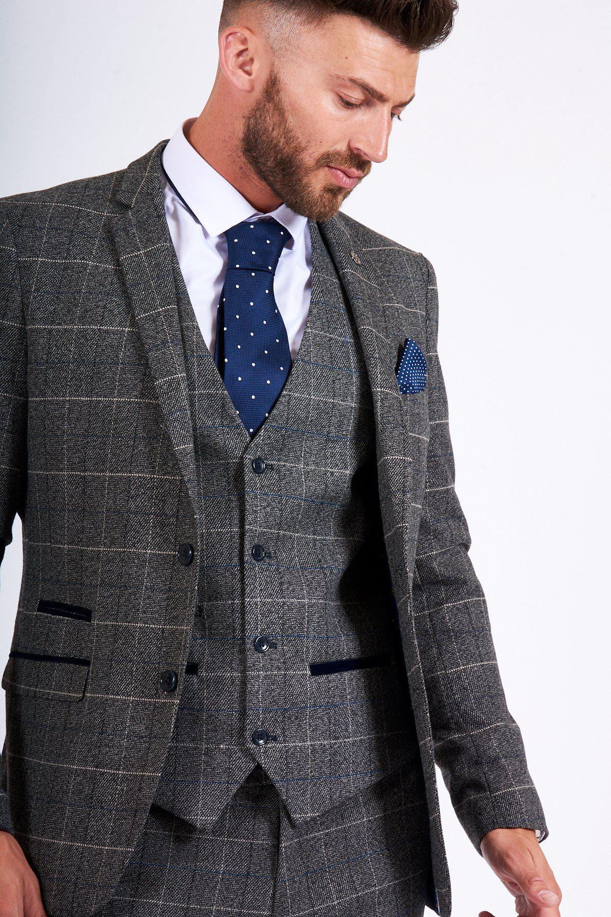 marcdarcy-SCOTT - Grey Tweed Check Blazer-Marc Darcy (877080117295)