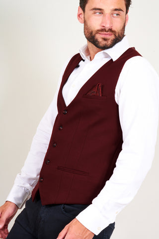KELLY - Wine Single Breasted Waistcoat
