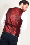 KELLY - Wine Single Breasted Waistcoat-WAISTCOATS-marcdarcy-Marc Darcy