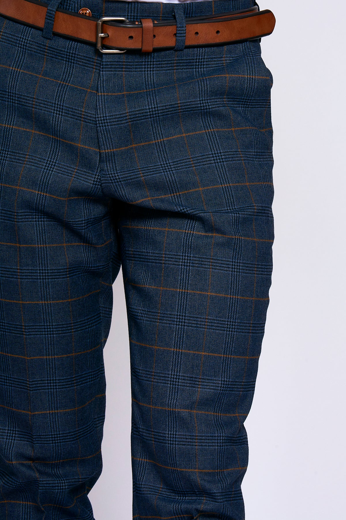 JENSON - Marine Navy Check Trousers-TROUSERS-marcdarcy-Marc Darcy