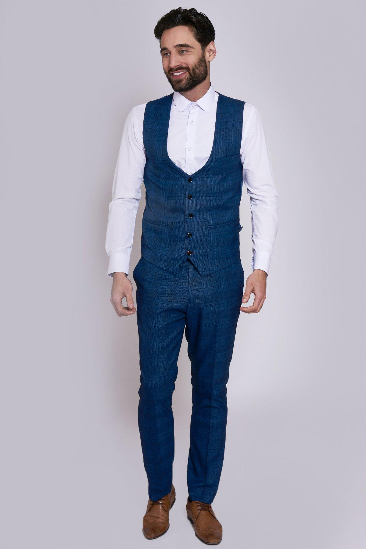 JERRY - Blue Check Single Breasted Waistcoat