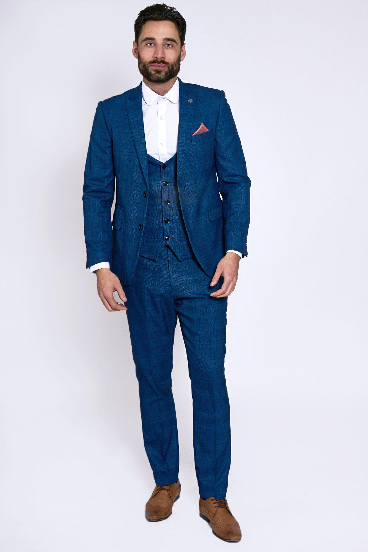 JERRY - Blue Check Suit With Single Breasted Waistcoat