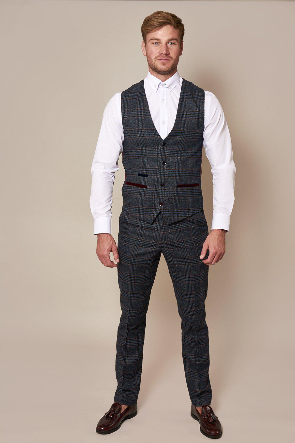 LUCA - Navy Check Tweed Trousers-TROUSERS-Marc Darcy (1330325356591)