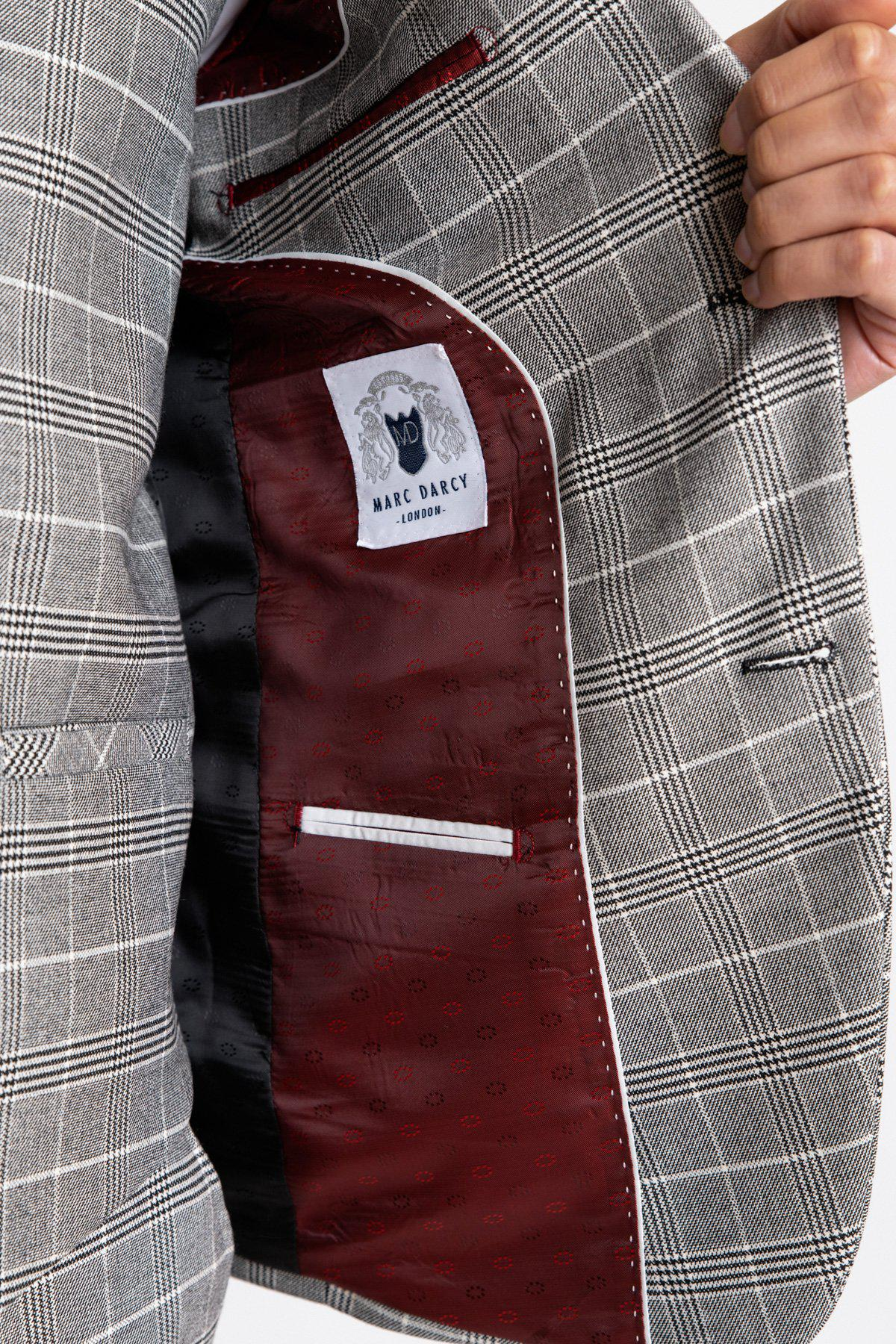 ROSS - Grey Check Three Piece Suit-SUITS-Marc Darcy (1046348857391)