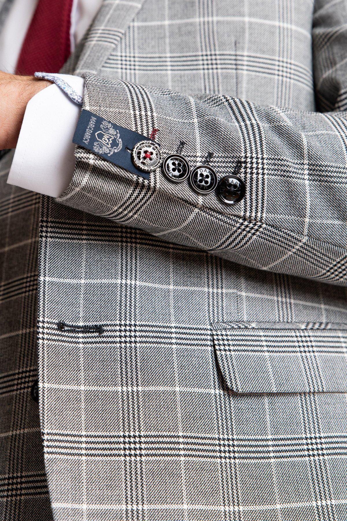 ROSS - Grey Check Three Piece Suit-SUITS-Marc Darcy