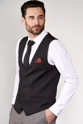KELLY - Black Single Breasted Waistcoat