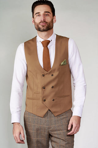 KELLY - Tan Double Breasted Waistcoat