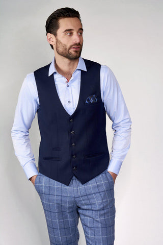 KELLY - Blue Single Breasted Waistcoat