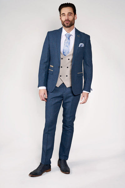 DION - Blue Tweed Check Suit With Kelvin Stone Waistcoat