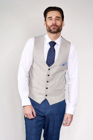 KELVIN - Stone Single Breasted Waistcoat
