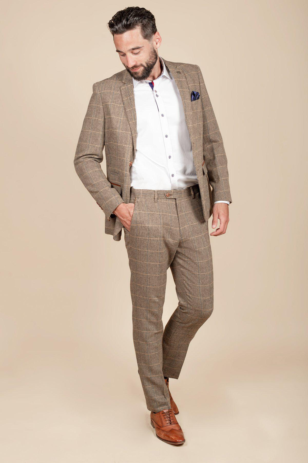 TED - Tan Tweed Check Two Piece Suit