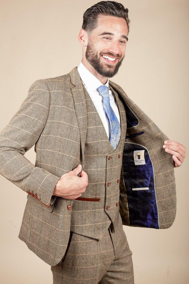 TED - Tan Tweed Check Three Piece Suit with Double Breasted Waistcoat