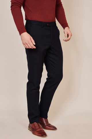 JD4 - Navy Flat Front Trousers