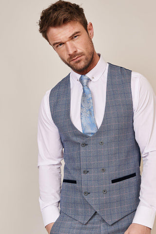 HILTON - Blue Tweed Check Double Breasted Waistcoat
