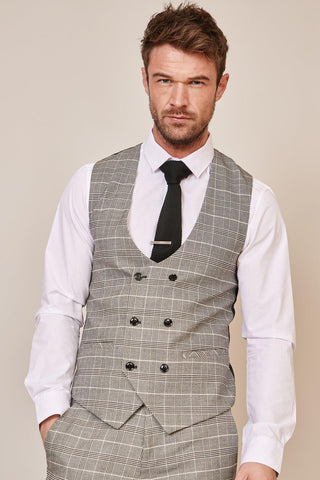 ROSS - Grey Check Double Breasted Waistcoat
