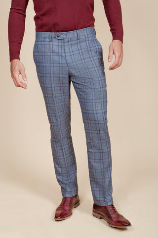 ABBOTT - Blue Tweed Check Trousers
