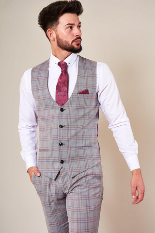 ALVIN - Grey Pink Check Single Breasted Waistcoat