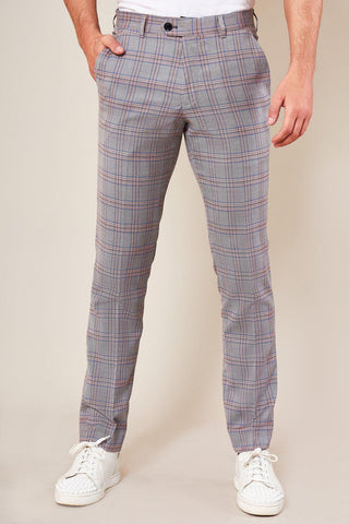 ALVIN - Grey Pink Check Trousers