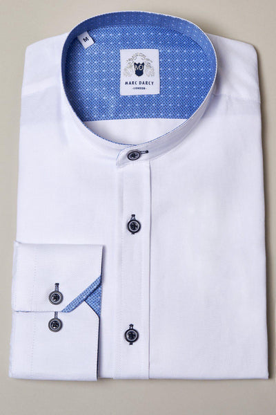 ARCHIE - White Grandad Collar Shirt With Navy Buttons