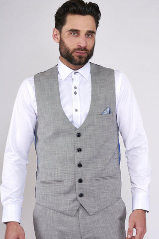 BEN - Silver Grey Single Breasted Waistcoat