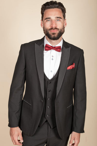 DALTON - Black Tux Lapel Diamond Blazer
